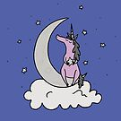 Dare to Dream - Purple Unicorn - Blue Background by Megan Downing
