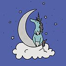 Dare to Dream - Blue Unicorn - Blue Background by Megan Downing