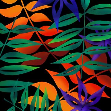 Tropical leaves on black by Clare-Wright