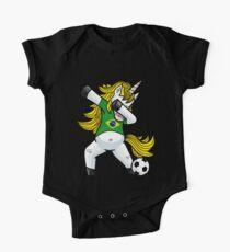 Dabbing Soccer Unicorn Brazil One Piece - Short Sleeve