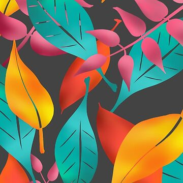 Bright, tropical leaves on grey by Clare-Wright