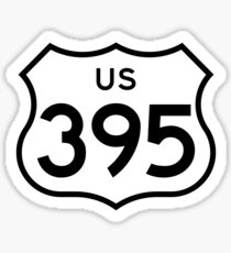 Pegatina US Highway 395 (1961 cutout) | United States Highway Shield Sign