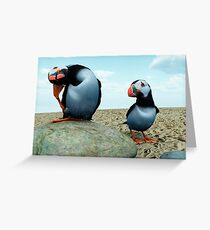 Puffins Rock Greeting Card