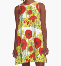 Yellow Daffodils And Red Poppy Field Watercolor Flowers A-Line Dress