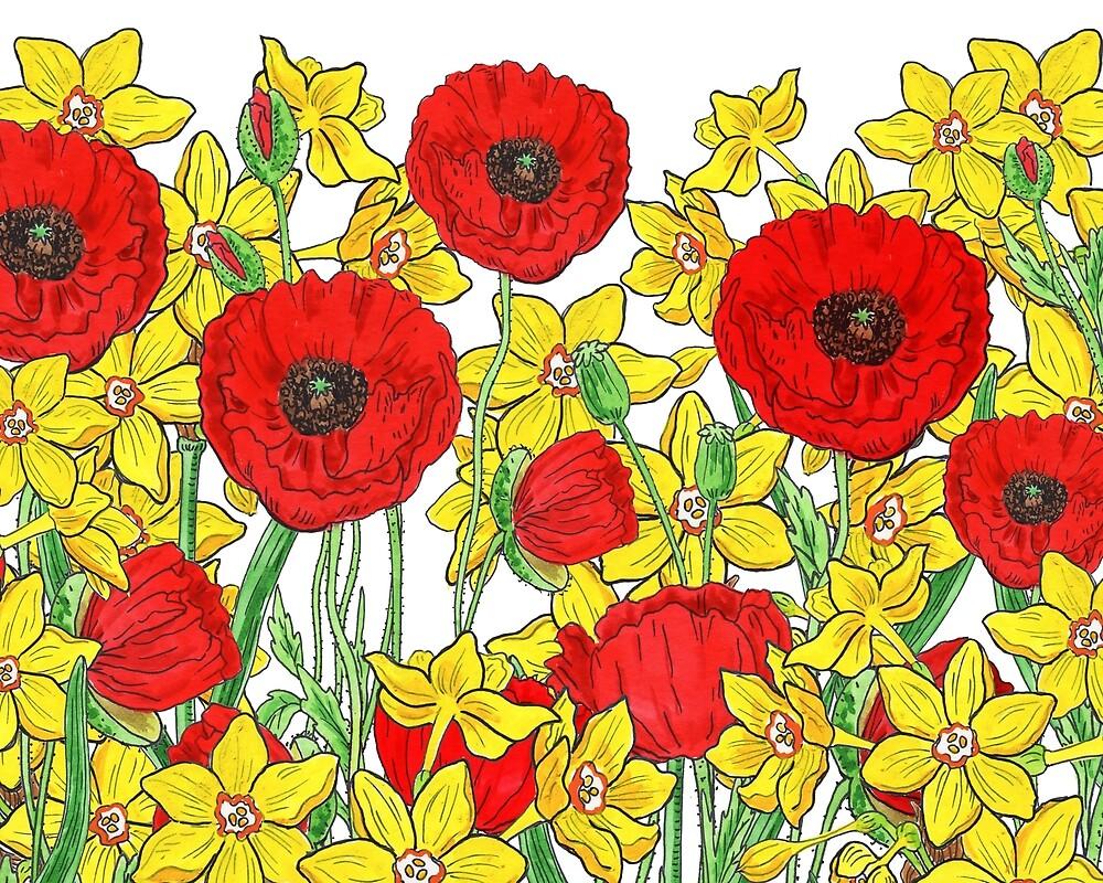 Yellow Daffodils And Red Poppy Field Watercolor Flowers by Irina Sztukowski