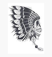 Native American Chief Skull Photographic Print