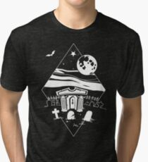 Spooky Mausoleum under the Full Moon Tri-blend T-Shirt