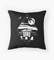 Spooky Mausoleum under the Full Moon Throw Pillow
