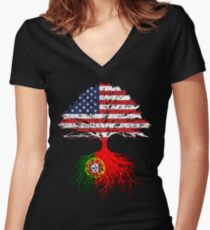 Portuguese Roots American Grown Portugal Flag Design Gift Women's Fitted V-Neck T-Shirt