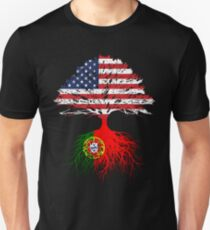 Portuguese Roots American Grown Portugal Flag Design Gift Unisex T-Shirt