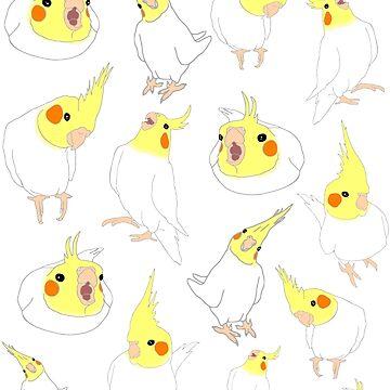 white cockatiel doodle pattern by FandomizedRose