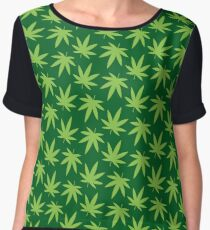 Pot Leaf Pattern Chiffon Top
