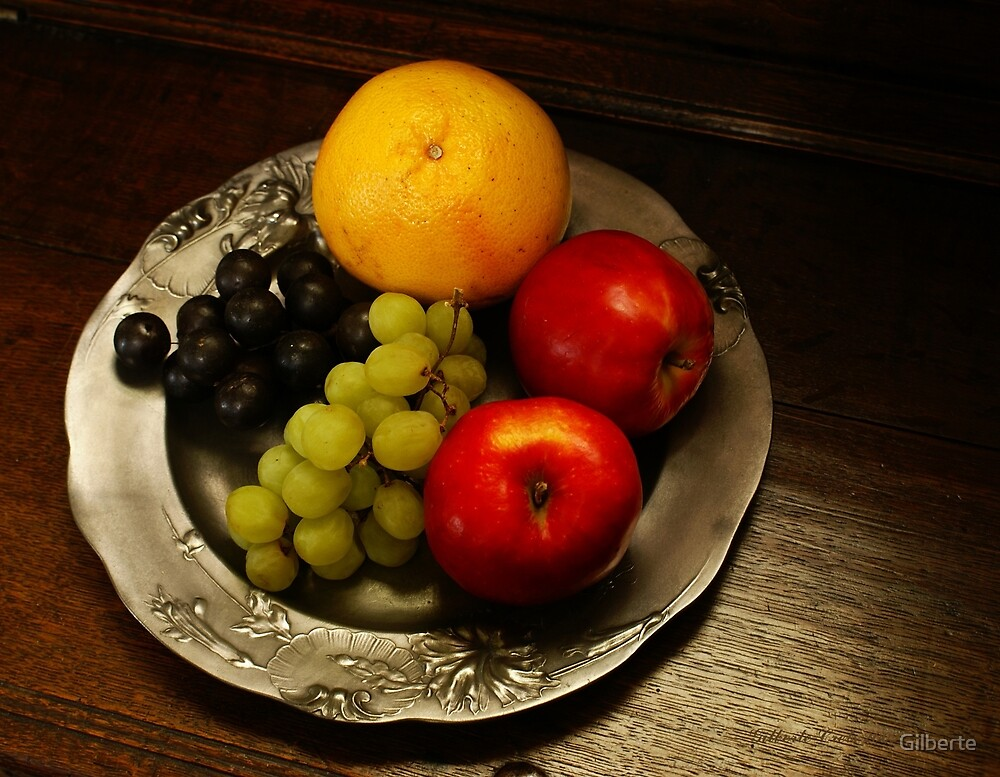 Pewter and Fruit by Gilberte