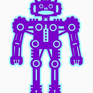 Purple and Blue Robot  by Artberry