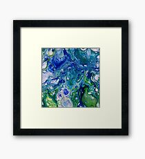 blue green marbled water Framed Print