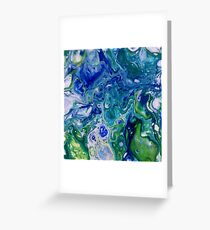 blue green marbled water Greeting Card