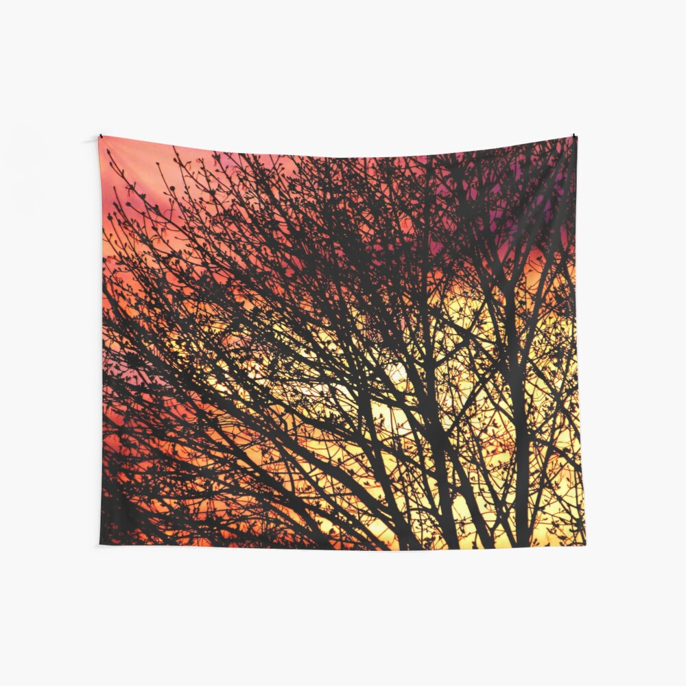 Evening Light in Rose and Gold Wall Tapestry