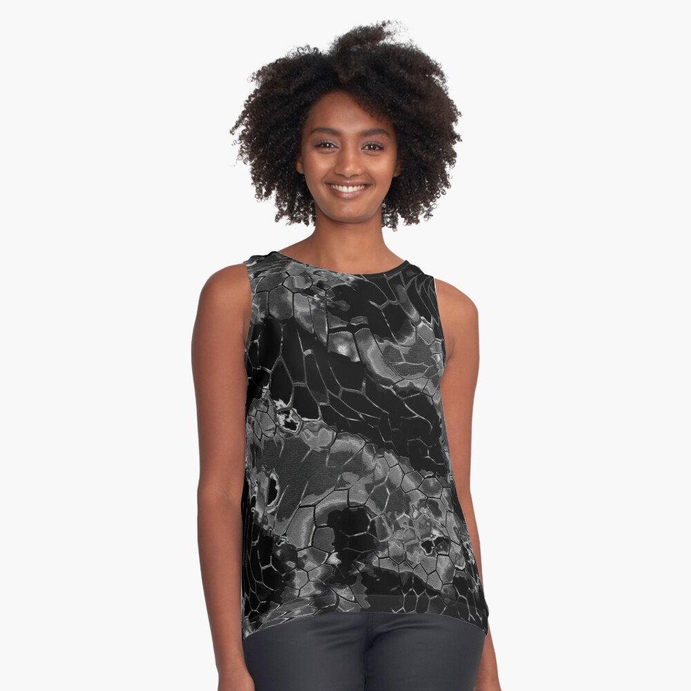 Animal print design - black dragon Contrast Tank Front