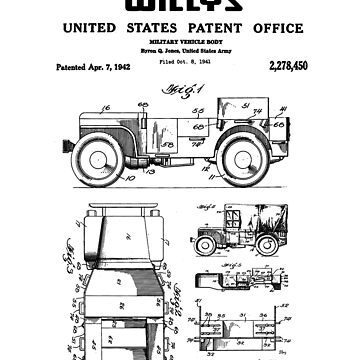 Willys Jeep Military Vehicle Patent Black by Vesaints