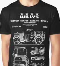 Willys Jeep Military Vehicle Patent White Graphic T-Shirt