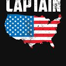 American FLag Map Captain Funny Political Parody USA 4th of July Graphic Tees T shirts by DesIndie