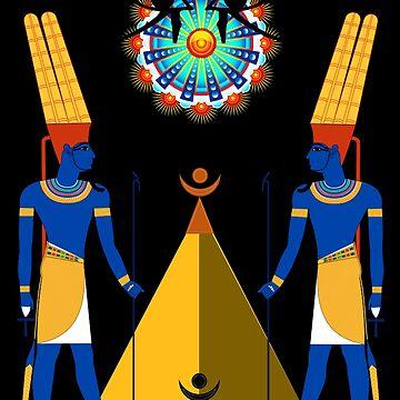 Kemet Egyptian Mythological Modern Art T Shirt Amun Amen Ra by Rahimseven