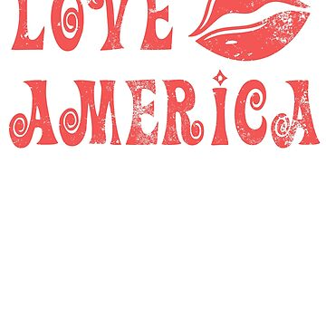 Vintage Lips I Love America USA 4th of July Patriotic T shirt by DesIndie