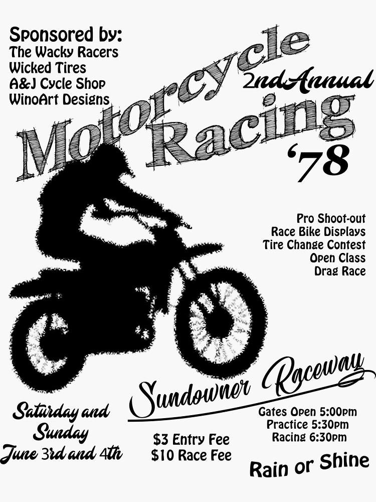 Vintage Motorcycle Racing Old School Moto Racing Sticker By