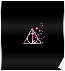 HP Hallows with bats (pink watercolors) - wand, cloak, stone Poster
