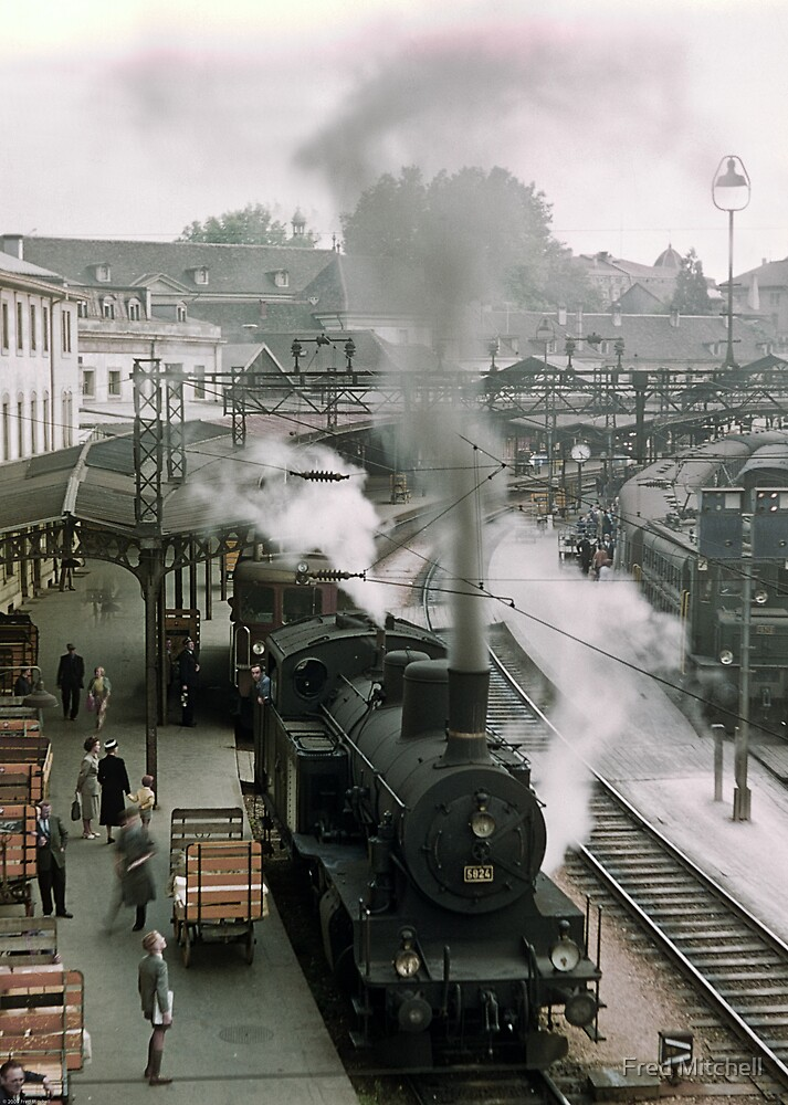 Steam trains at Bern Station 19570921 0009 by Fred Mitchell