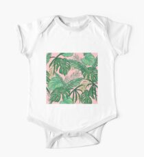 Pink Background and Green Leaves One Piece - Short Sleeve