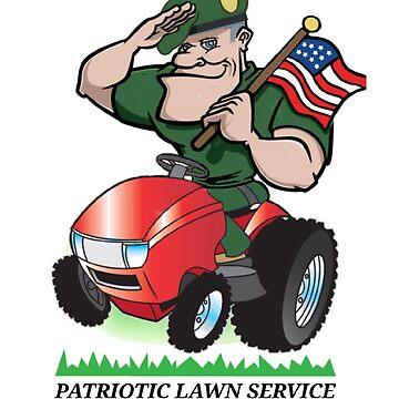 Patriotic Lawn Service by CleverTshirtCo