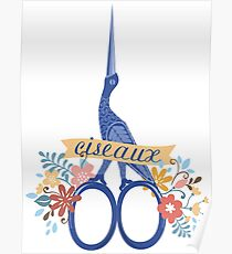 Pretty blue bird stork sewing scissors French ciseaux Poster