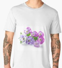 beautiful pansy flowers isolated on white background Men's Premium T-Shirt