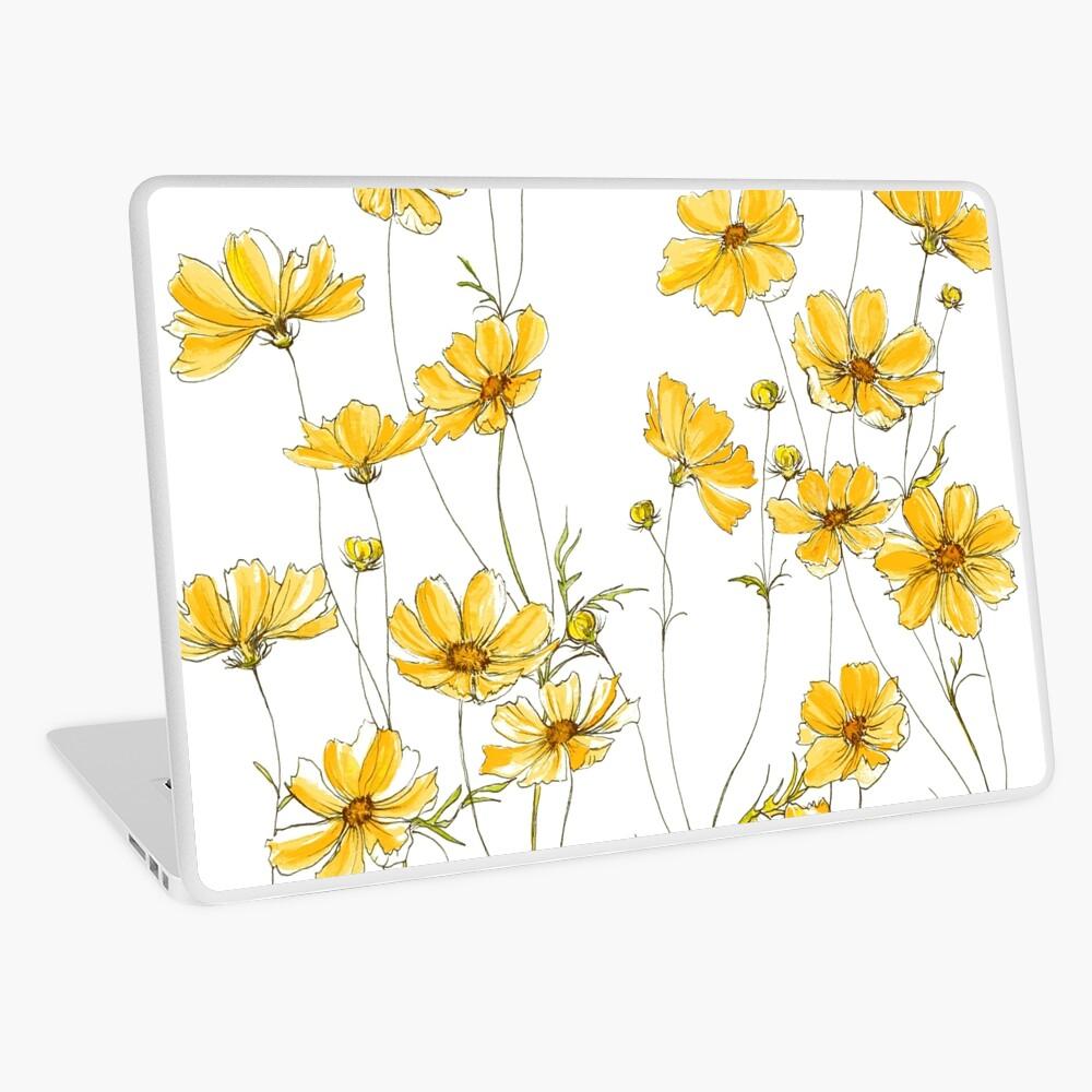 Yellow Cosmos Flowers Laptop Skin