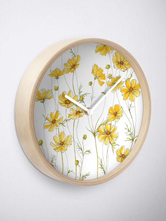 Alternate view of Yellow Cosmos Flowers Clock