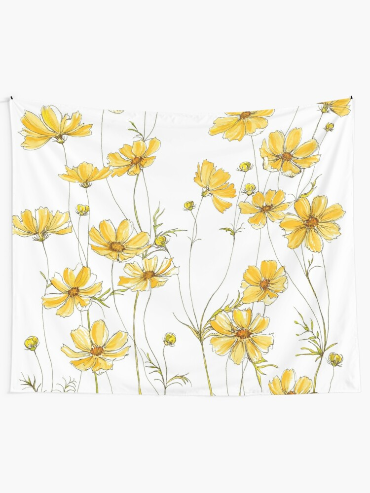 Alternate view of Yellow Cosmos Flowers Wall Tapestry