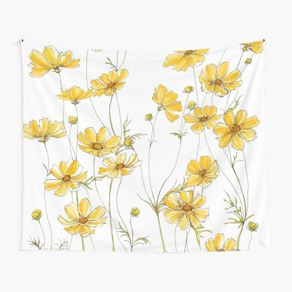 Yellow Cosmos Flowers Wall Tapestry