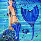 Blue reef mermaid art by Renee L Lavoie by Renee Lavoie