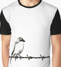 A Bird On Barbed Wire Black and White Illustration Graphic T-Shirt