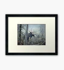 Bull Moose In Morning Mist Framed Print