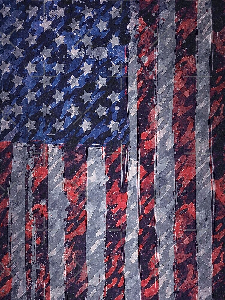 Rustic American Flag by BethsdaleArt