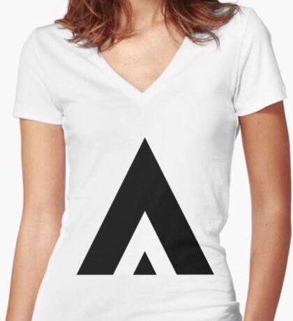 White Stripe Women's Fitted V-Neck T-Shirt
