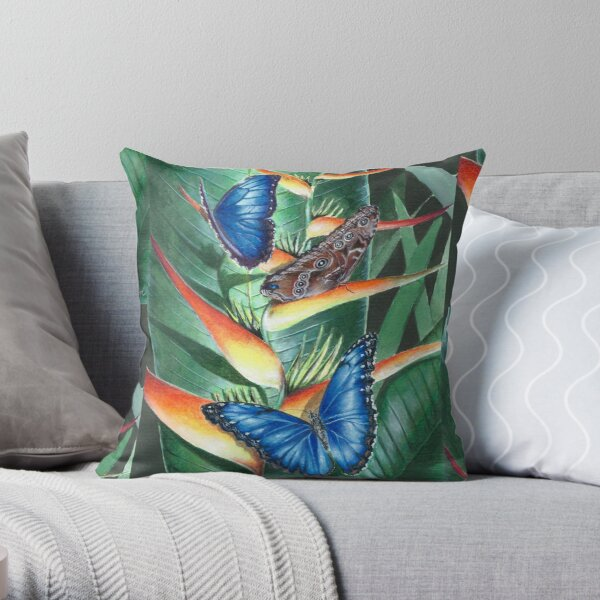 heliconia and morphos Throw Pillow