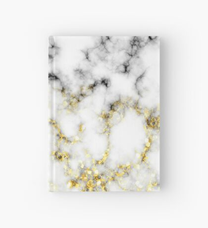Black and white marble gold sparkle flakes Hardcover Journal
