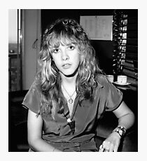stevie nicks - black and white Photographic Print