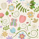 Hand Drawn Floral Pattern by Pamela Maxwell