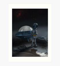Alien and Saucer Art Print