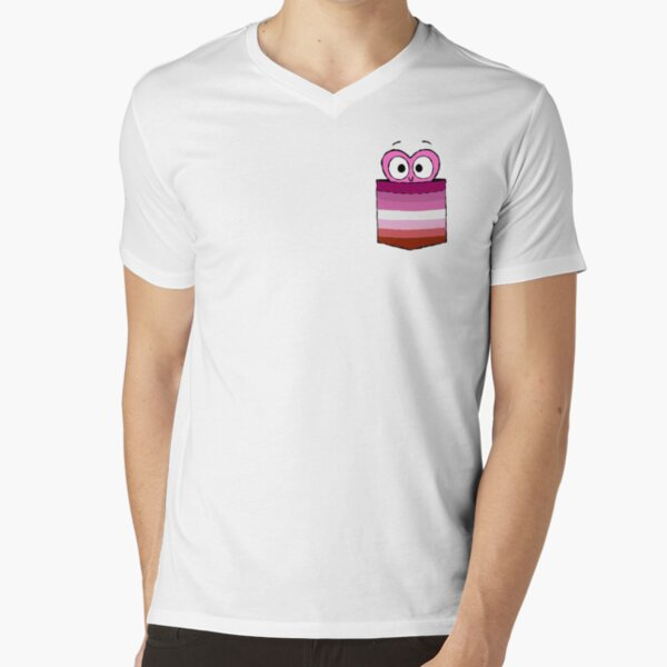 In a Heartbeat - Lesbian Flag Pocket V-Neck T-Shirt