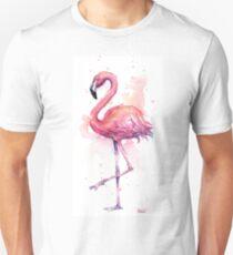 Pink Flamingo Watercolor Tropical Bird Slim Fit T-Shirt